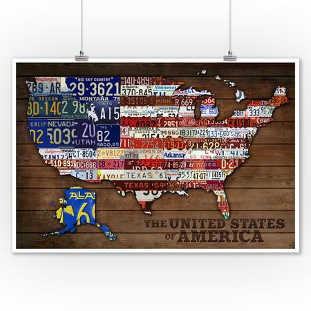 Americana - License Plate Map - Lantern Press Artwork (9x12 Art Print, Wall Decor Travel - Plate Wall Art