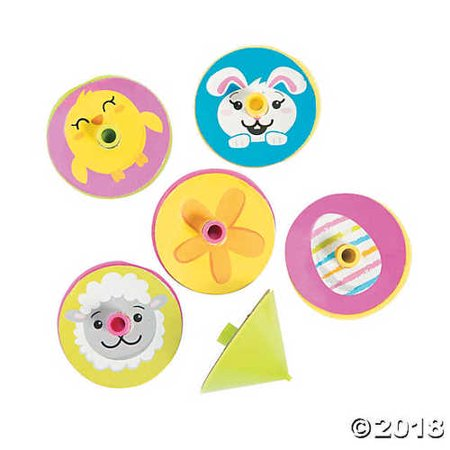 144 Easter Spin Tops- Bulk Easter Egg Fillers and Favors