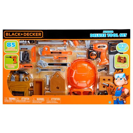 BLACK+DECKER Junior Deluxe Tool Play Set - 85pc, Includes 85 tools and accessories By BLACKDECKER Junior Deluxe Tool Play Set