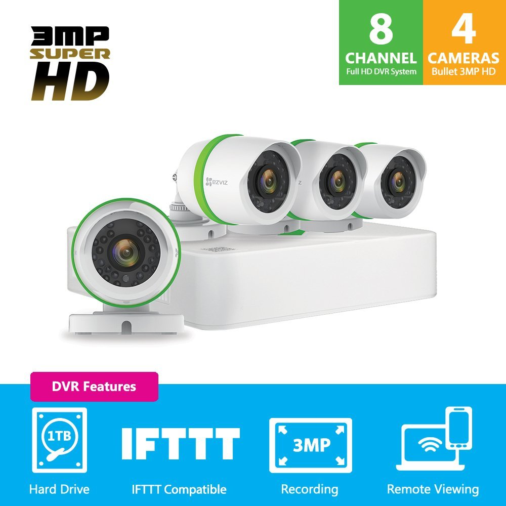 EZVIZ 3MP Outdoor Security Camera System, 4 HD Weatherproof Cameras, 8 Channels with 1TB DVR