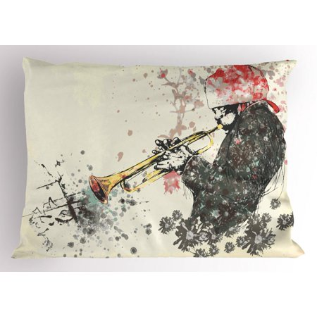 New Orleans Pillow Sham, Trumpeter Man with Hand Drawn Flowers and Color Splashes, Decorative Standard Queen Size Printed Pillowcase, 30 X 20 Inches, Dark Green Vermilion and Cream, by Ambesonne