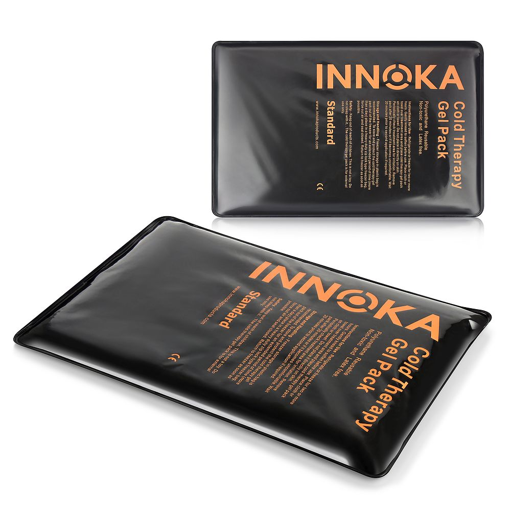 INNOKA Flexible Gel Flat Pack Cold Therapy Ice Pad Reusable Relief Body Pain Sports Injury - Black