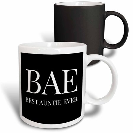 3dRose Bae, best auntie ever, white letters on a black background - Magic Transforming Mug,