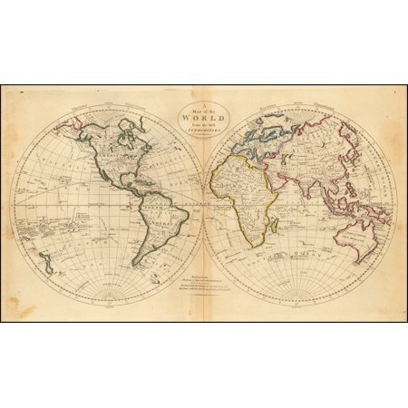 LAMINATED POSTER A Map of the World from the best Authorities POSTER PRINT 24 x