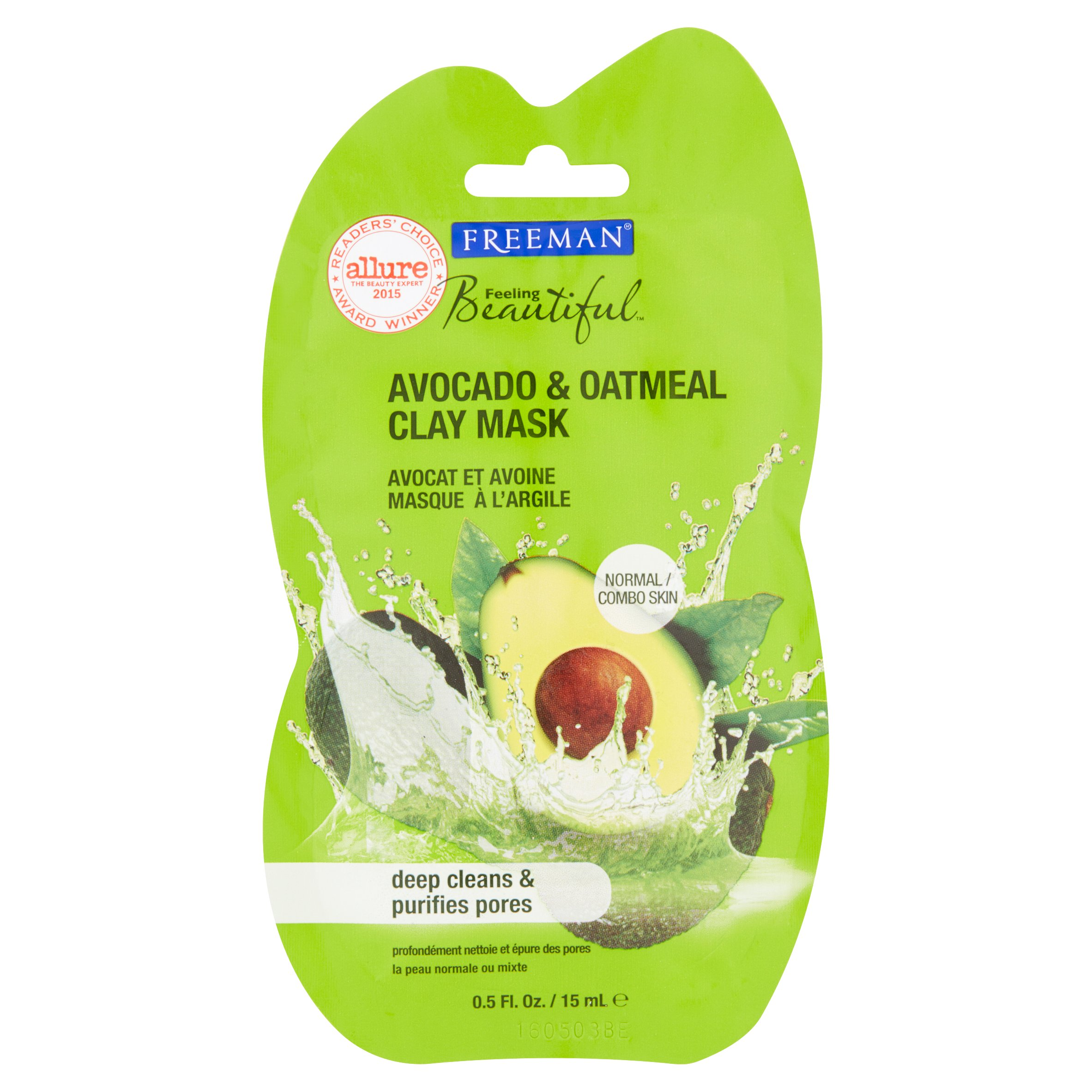 Freeman Feeling Beautiful Clay Face Mask Avocado & Oatmeal Clay, 0.5 fl oz