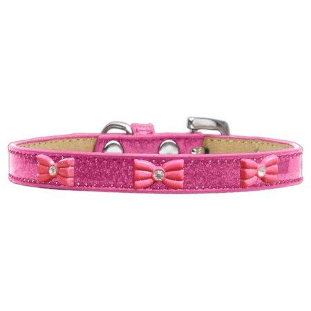 Pink Glitter Bow Widget Dog Collar Pink Ice Cream Size 12