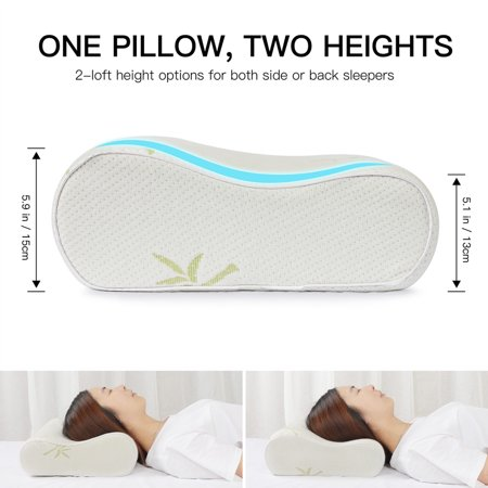 Contoured Memory Foam Pillow Bed Pillow Contoured Neck Support Pillow 60 x 40cm - image 5 de 8