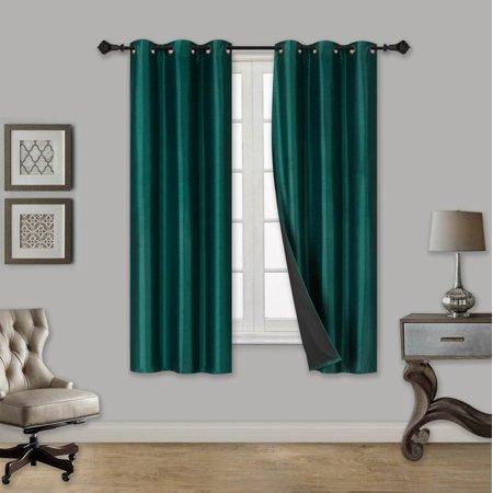 ELIO HUNTER GREEN 2-Piece 100% Thermal Blackout Grommet Window Curtain with Black Foam Backing Set, Solid Room Darkening Panels 35