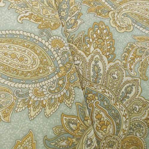 Designer Cotton Teal/Beige Paisley Print Home Decorating Fabric, Fabric By the Yard
