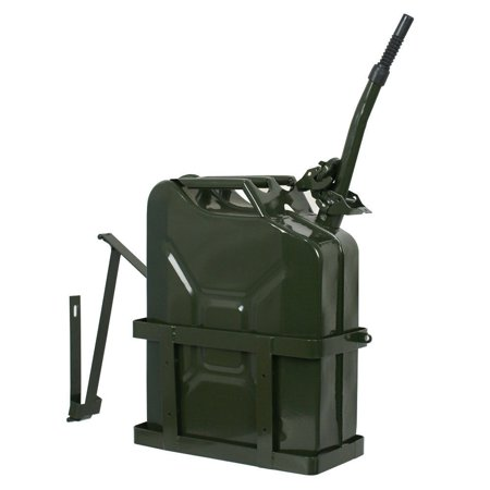 ZENY 5 Gallon 20L Gas Jerry Can Fuel Steel Tank Military Green w/ Holder New