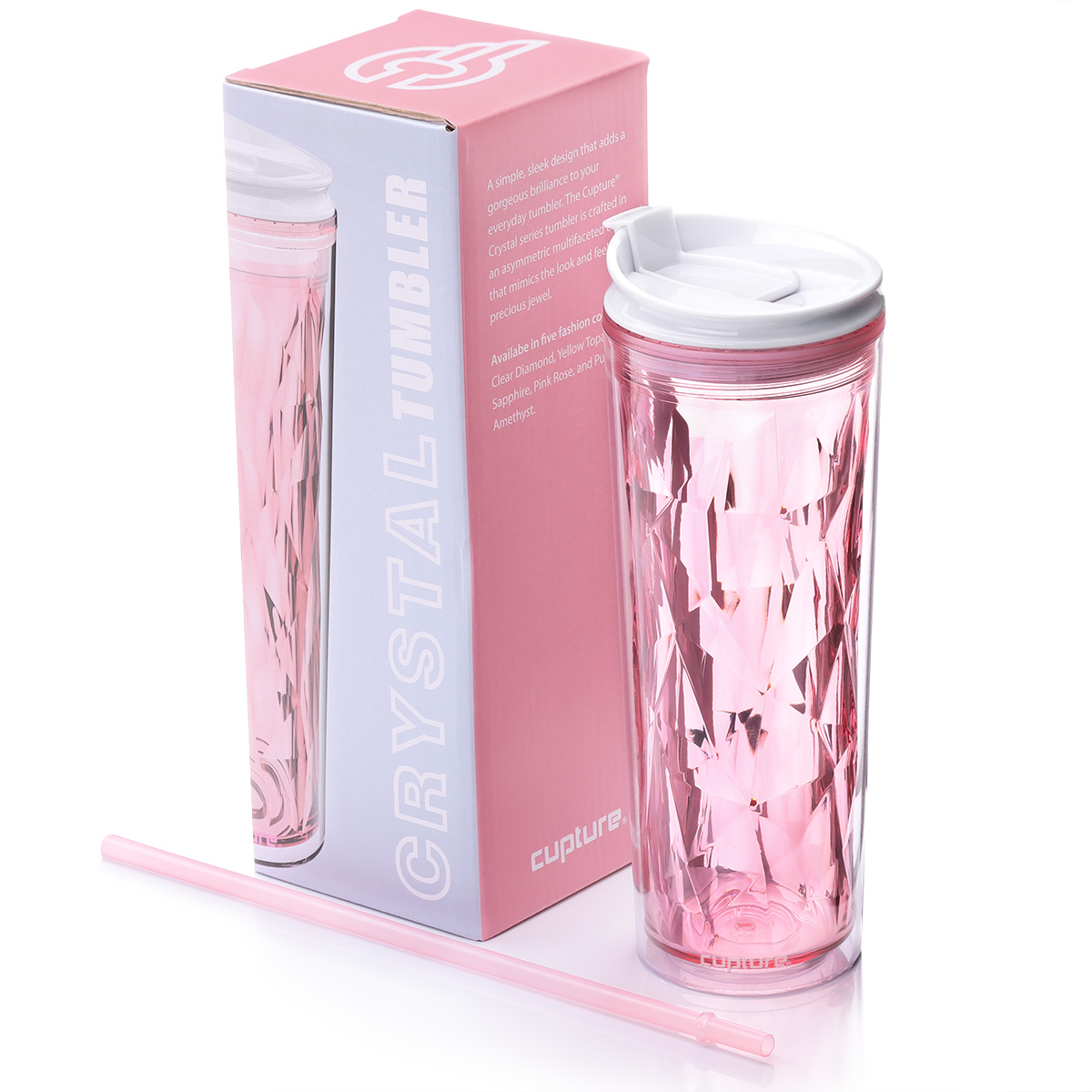 Cupture Crystal Click & Seal Shake Tumbler Cup for Hot or Cold Drinks - 22 oz (Pink Rose)