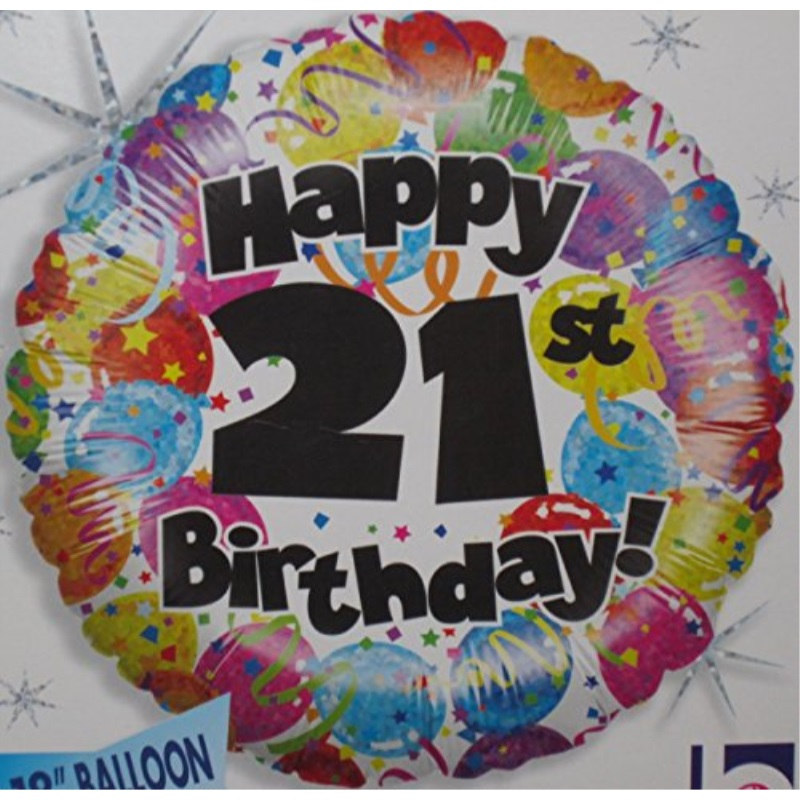 """Betallic 21st Party Birthday Holographic Foil Balloon, 18"""", Multicolor"""
