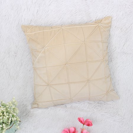 Velvet Soft Throw Pillow Cover Solid Color Square Decorative Throw Pillow Case Cushion Covers, Beige 1Pcs,18