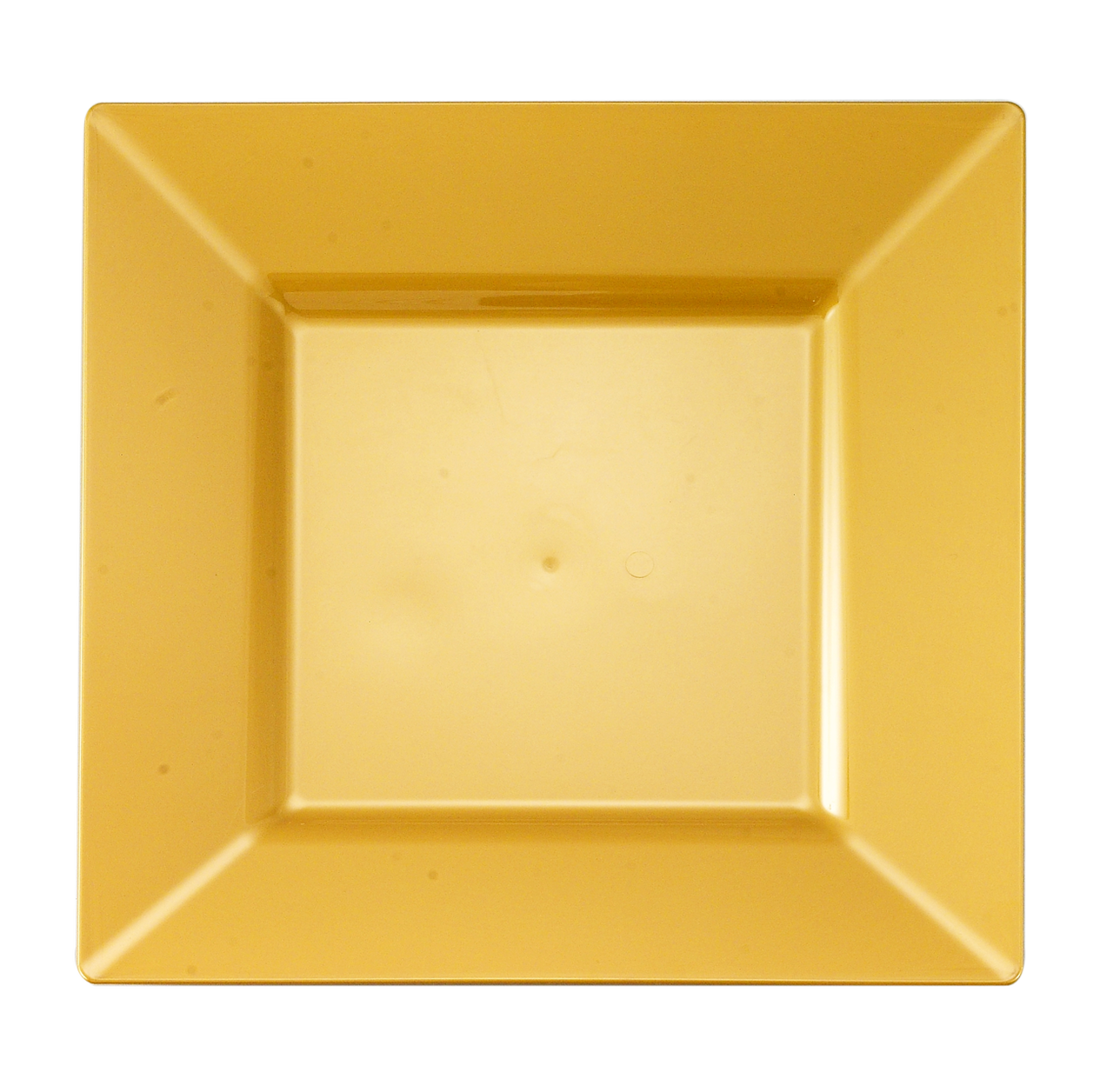 "Kaya Collection - Gold Plastic Square 9.5"" Dinner Plates - Disposable or Reusable - 2 Pack (20 Plates)"