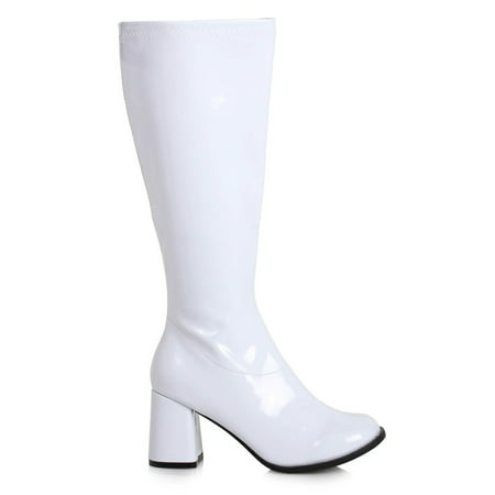 Women's 3 inch Wide Width White GoGo Boot Halloween Costume Accessory
