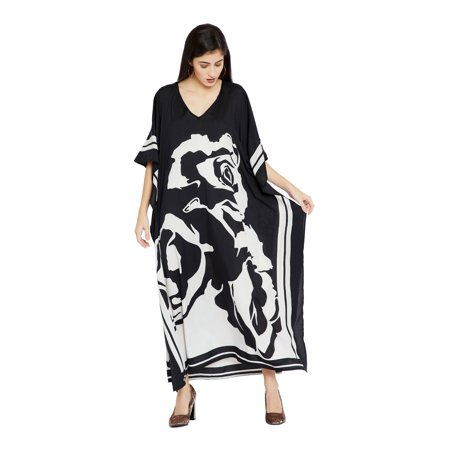Black Caftans for Women Rose Printed Plus Size Kaftan Dresses for Women Plus Size Ladies Kaftan Long Free Size Long Women Dress Online by Oussum ()