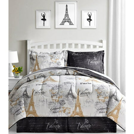 Paris Eiffel Tower Black White Gold Reversible Twin Comforter