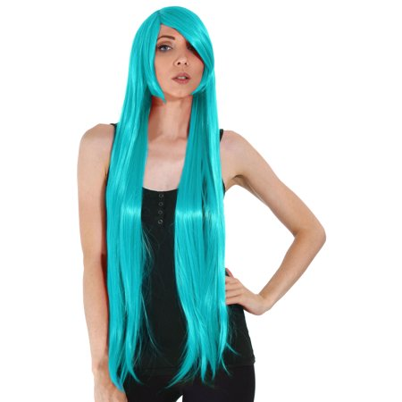 Simplicity Long Cosplay Halloween Party Teal Straight Full Hair Wigs - Teal Wig