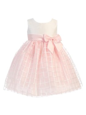 7f6ba0bc2 Product Image Baby Girls Pink Poly Silk Embroidered Organza Dress 6-12M