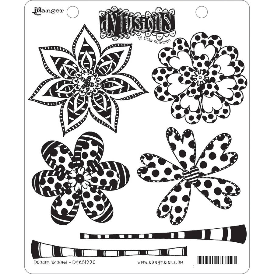 """Dyan Reaveley's Dylusions Cling Stamp Collections, 8.5"""" x 7"""", Doodle Blooms"""