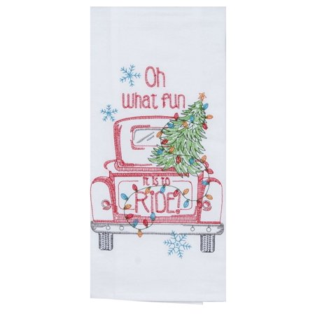Holiday Red Pickup Truck Christmas Tree Embroidered Flour Sack Kitchen