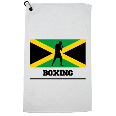 Jamaica Olympic - Boxing - Flag - Silhouette Golf Towel with Carabiner (Bowling Silhouette)