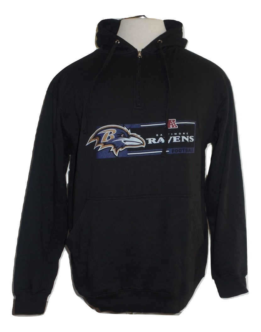 Baltimore Ravens Big and Tall Mens Black Majestic 1 4 Zip hooded fleece jacket by G-III Sports