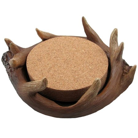 Buck Deer Antler Drink Coaster Set In Decorative Display Stand As Table Or Bar Decorations For Hunting Cabin And Lodge Decor By Home N Gifts