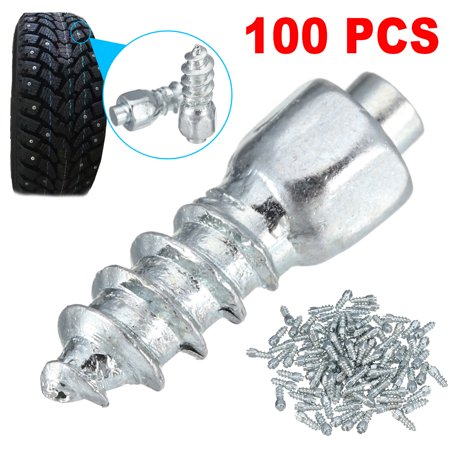100Pcs Tire Stud Screw 12mm Anti-Slip Snow Tire Studs Wheel Tyre Tire Spikes Trim Screw in Tire Stud for Car/Truck/Bike/Boot/Motorcycle/ATV/SUV Auto