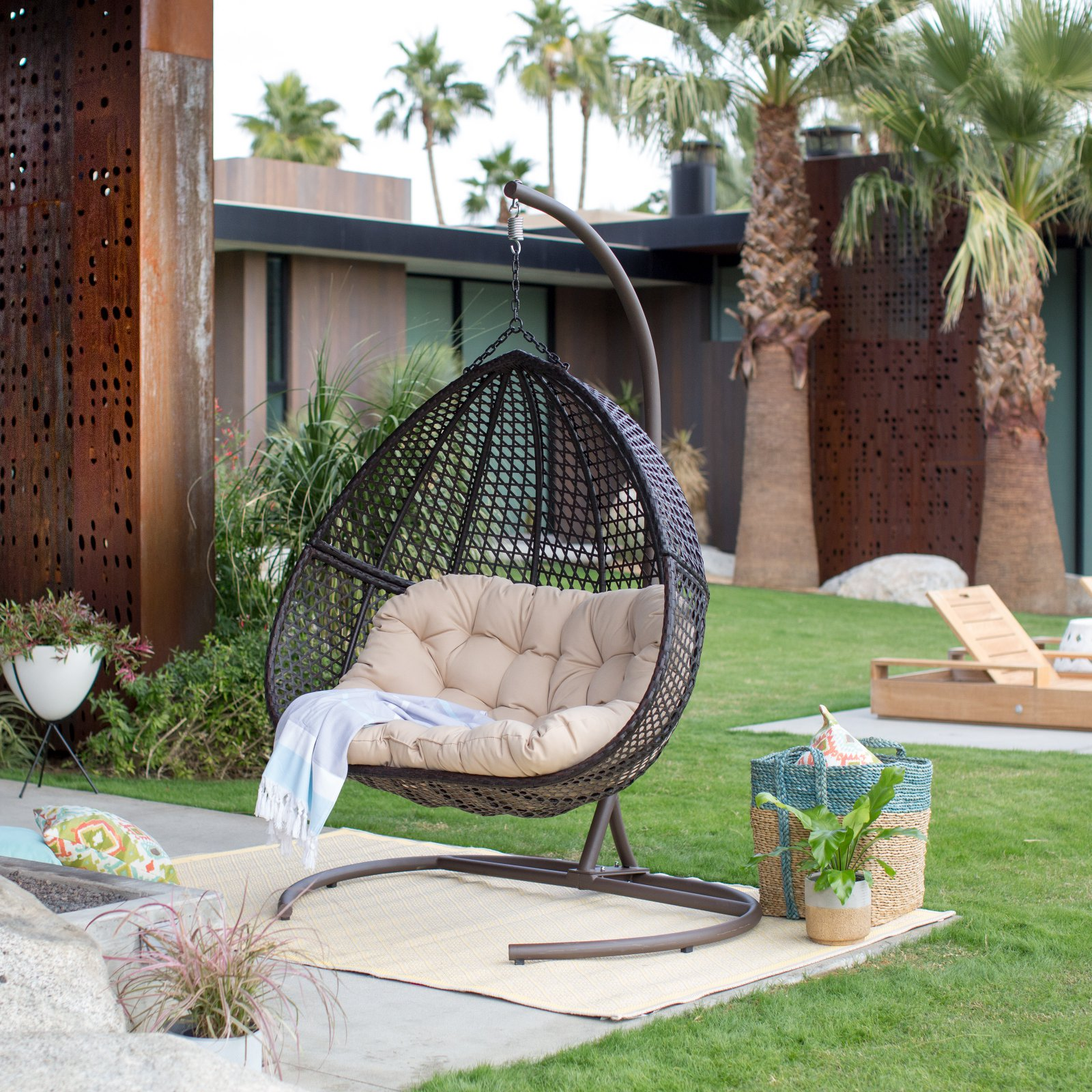 Details About Giant Hanging Double Egg Chair W Stand And Pad Wicker Hammock Outdoor Swing Seat