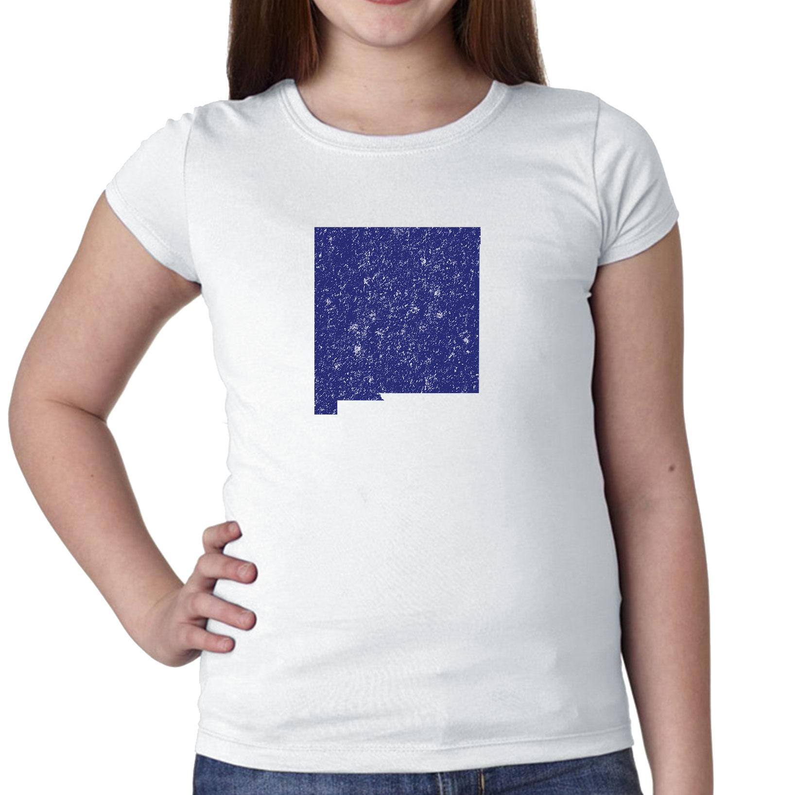 New Mexico Blue Democratic - Election Silhouette Girl's Cotton Youth T-Shirt