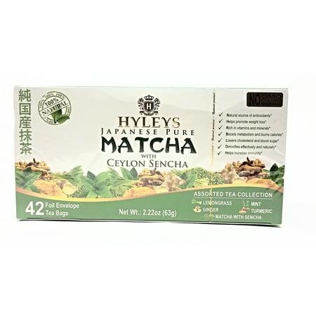 Envelope Folio - Hyleys Japanese Pure Matcha w/Ceylon Sencha Assortment 42 Foil Envelope Teabags