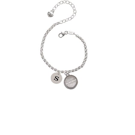 Silvertone Disc 1/2'' Initial - s - Sisters Are Best Friends Forever Engraved Bracelet (Cheap Engraved Bracelets)