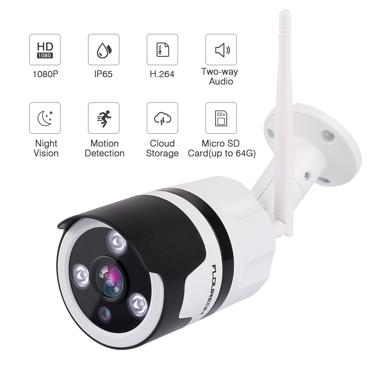 FLOUREON 1080P Wifi Wireleess Bullet IP Camera with Two-way Audio, IR Night Vision, Motion Detection, Remote View Via Smartphone / Tablet / PC, IP65 Waterproof, Up to 64GB Micro SD Card