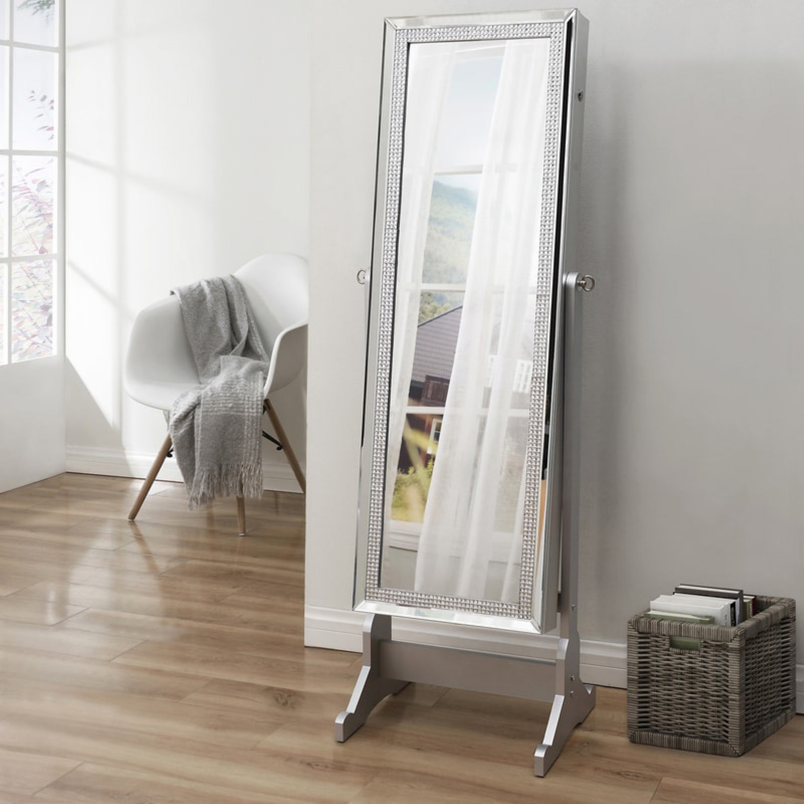 Inspired Home Juliette Full Length Lockable Cheval Mirror Jewelry Armoire