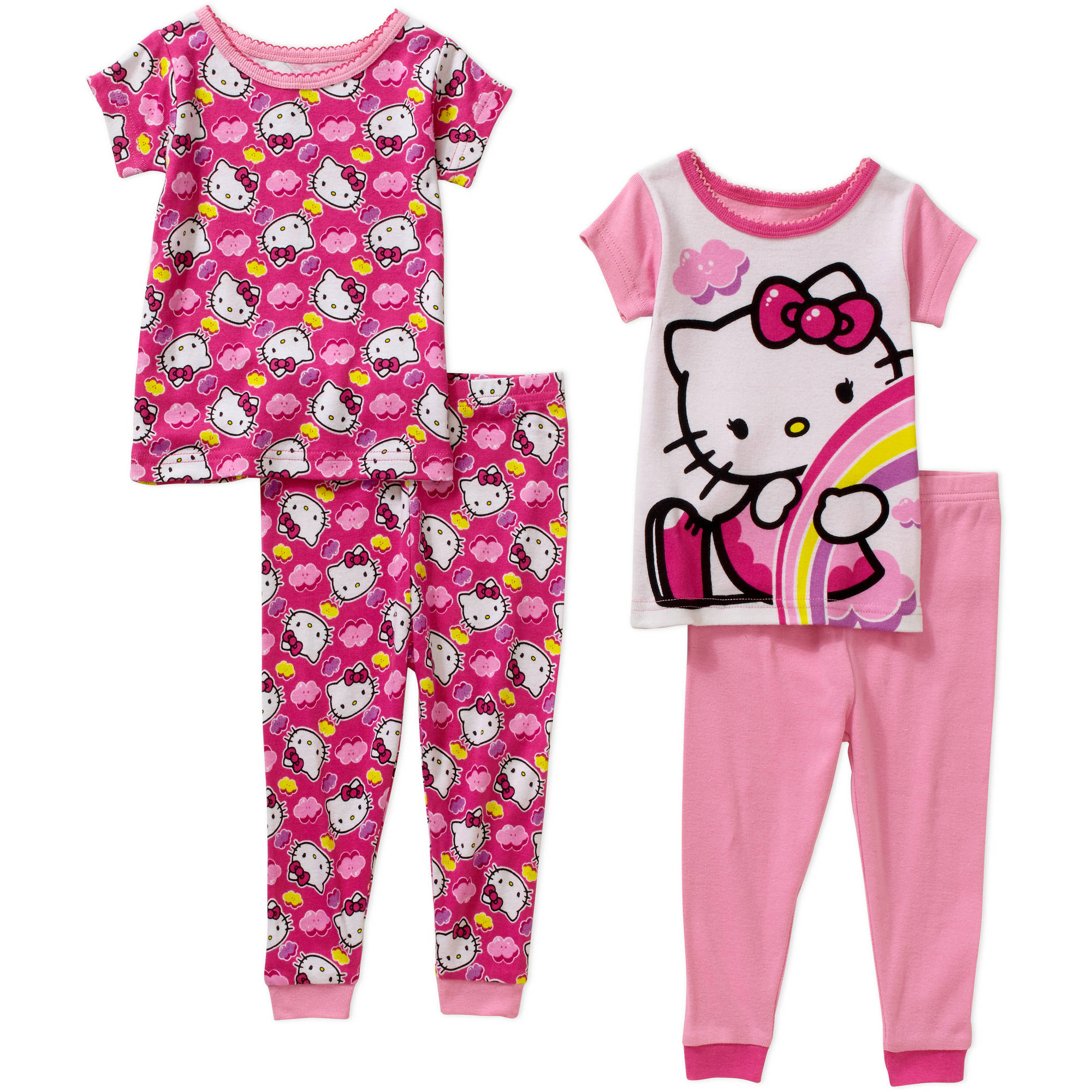 Hello Kitty Infant Baby Girl Cotton Tight Fit Short Sleeve Pajamas, 4-Pieces
