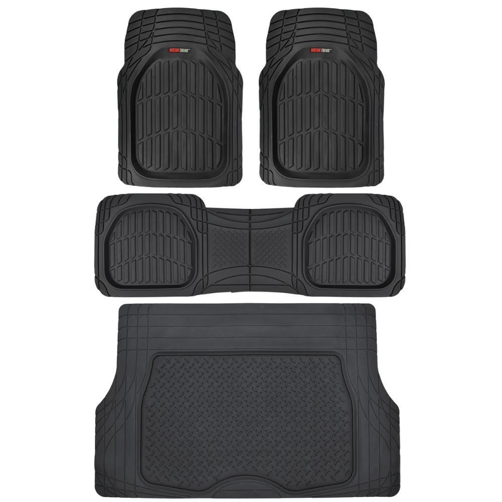 Motor Trend FlexTough Car Floor Mats with Cargo Trunk Mat 100 % Odorless, Real Heavy Duty Protection for Car SUV Truck & Van
