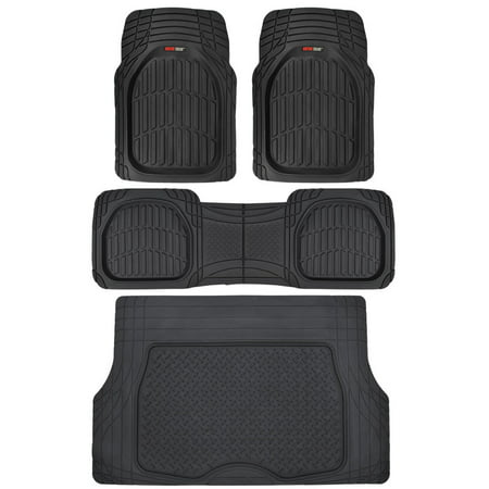 Motor Trend FlexTough Car Floor Mats with Cargo Trunk Mat 100 % Odorless, Real Heavy Duty Protection for Car SUV Truck &