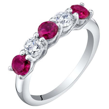 Sterling Silver Created Ruby Five-Stone Trellis Ring Band Sizes 5 to 9