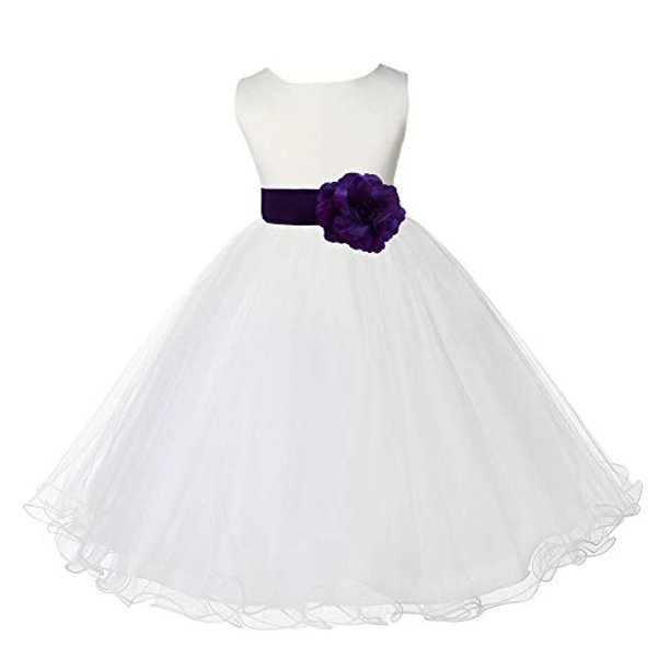 Ekidsbridal Ivory Tulle Rattail Edge Formal Toddler Flower Girl Dresses Special Occasion Dresses Wedding Tulle Dresses Pageant Dresses Junior Bridesmaid Dresses Easter Summer Dresses Ball Gown 829S