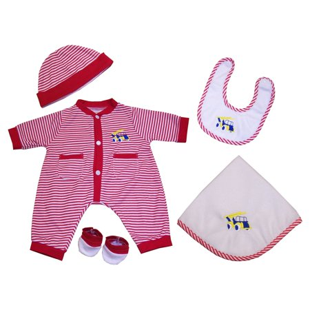 Molly P. Red Striped Truck 20 in. Doll Outfit