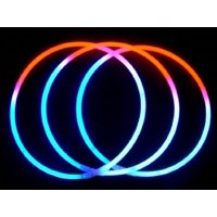 "Glow Sticks Bulk Wholesale Necklaces, 100 22"" Glow Stick Necklaces Tri-color (Red-White-Blue) +100 FREE Glow Bracelets BONUS, Glow With Us Brand"