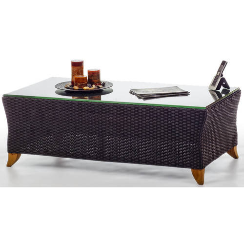 All Things Cedar Rattan Coffee Table with Glass Top by All Things Cedar