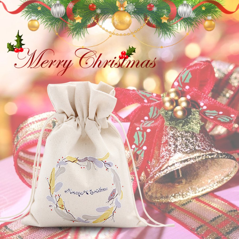 Unique Large Christmas Gift Bag Home Party Vintage Drawstring Canvas ...