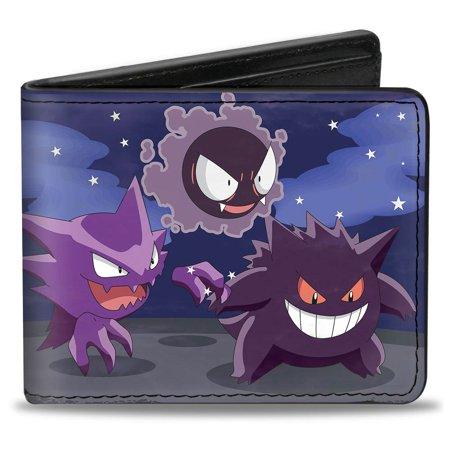 Gengar Evolution Group + Poke Ball Purples Bi Fold Wallet One Size