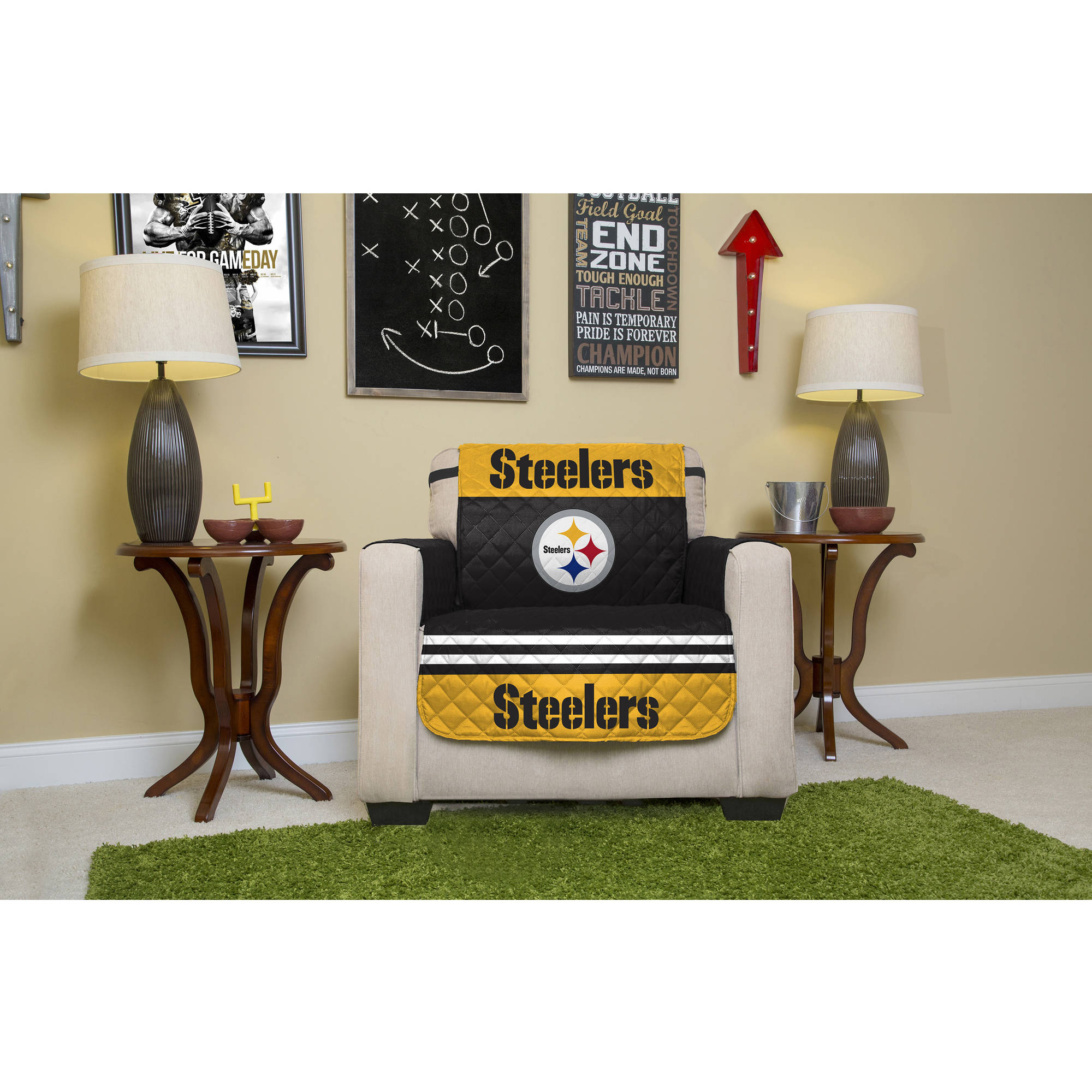 Superbe NFL Licensed Furniture Protector, Chair, Pittsburgh Steelers