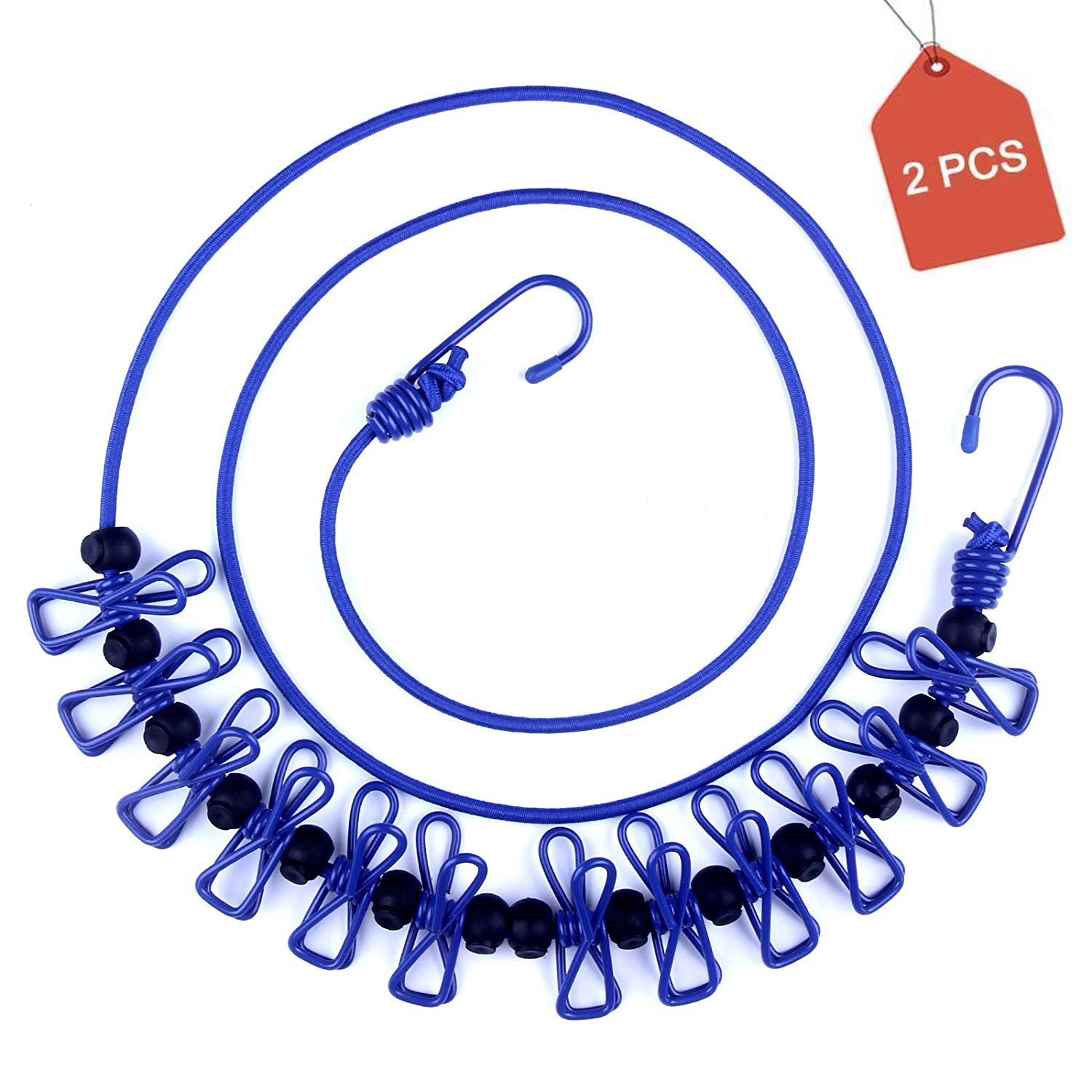 Coolmade 2 Packs Portable Travel Elastic Clothesline Adjustable Clothesline with 12pcs Clothespins for Outdoor and Indoor Use (Blue)