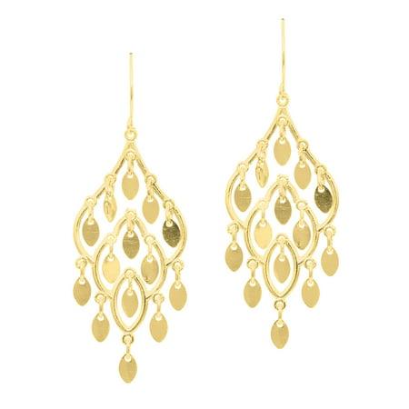 - 14k Yellow Gold 20mm X 45mm Chandelier Earrings