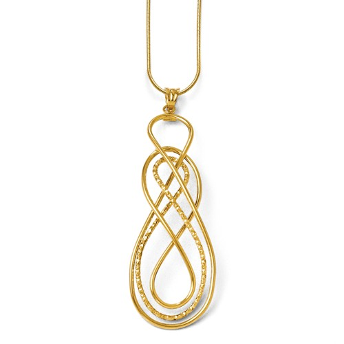 14k Yellow Gold Polished and D/C Fancy Twisted Pendant