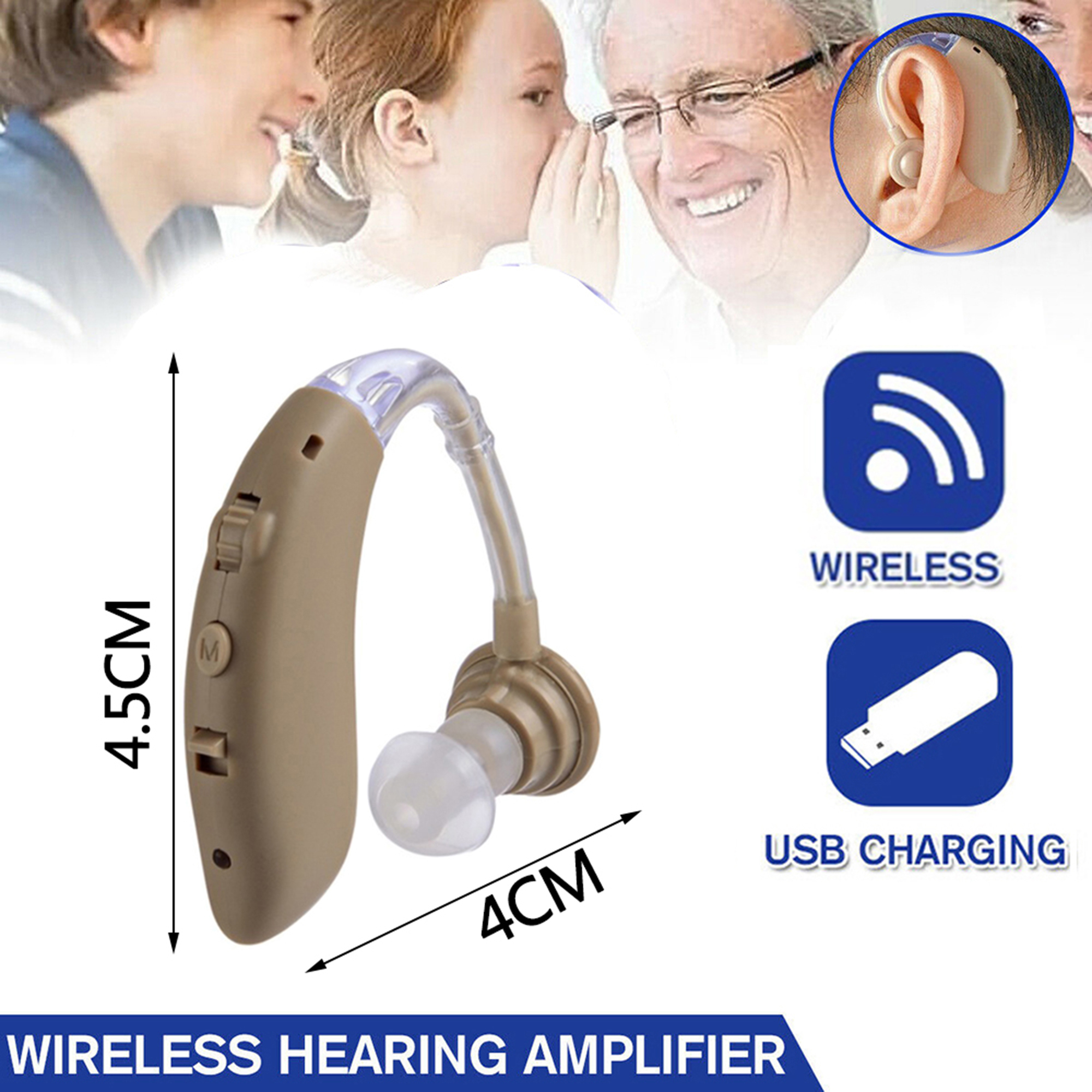 Set of 2 BTE Personal Sound Amplifier For Adults Men /& Women Best Hearing Amplifiers Small Digital Device